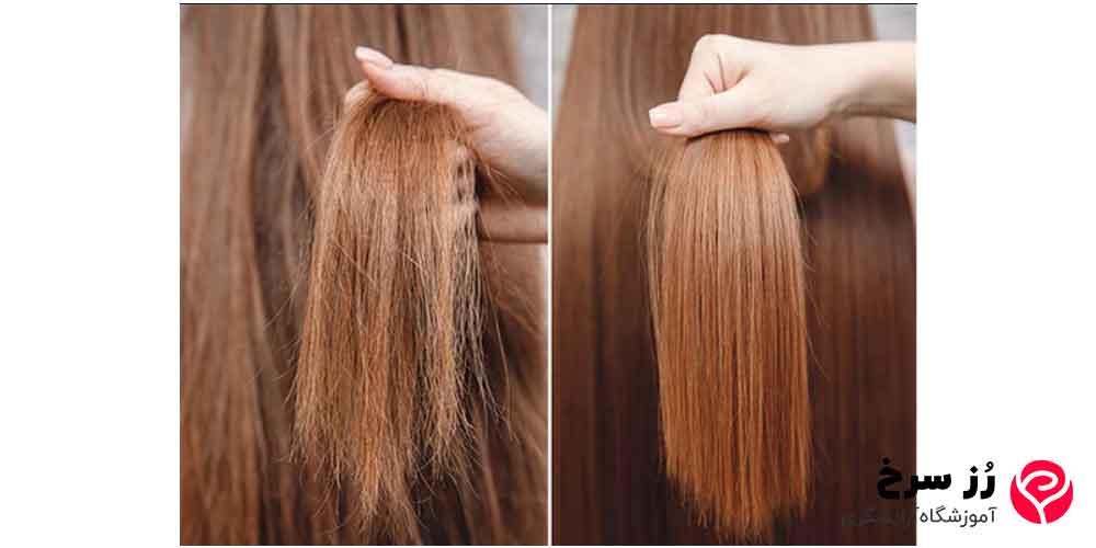 از بین رفتن موخوره موها با تکنیک کراتین کردن مو