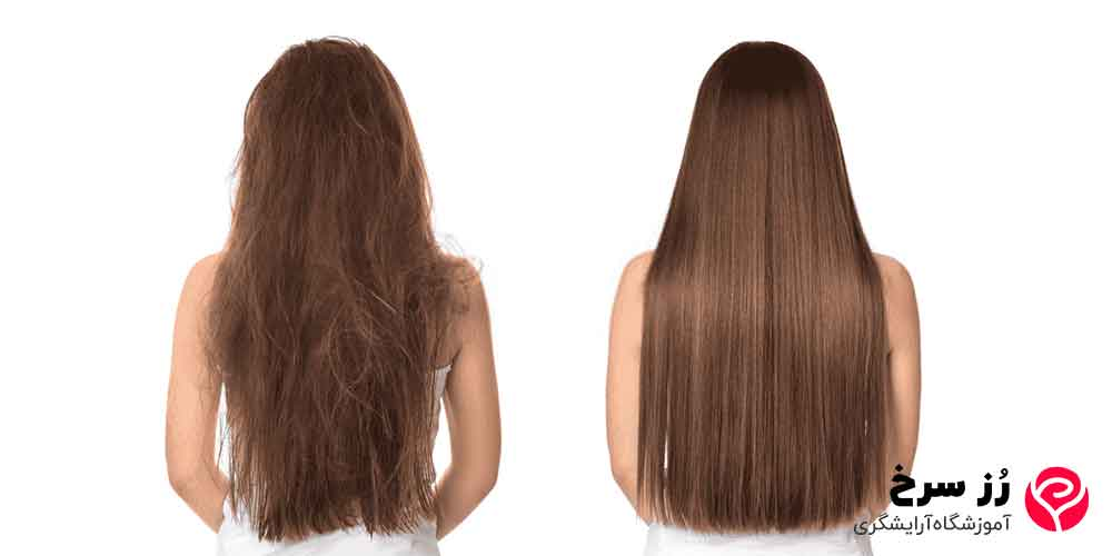 تغییر قبل و بعد کراتینه کردن مو