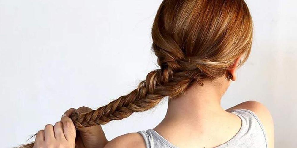 بافت مو دخترانه تیغ ماهی ساده