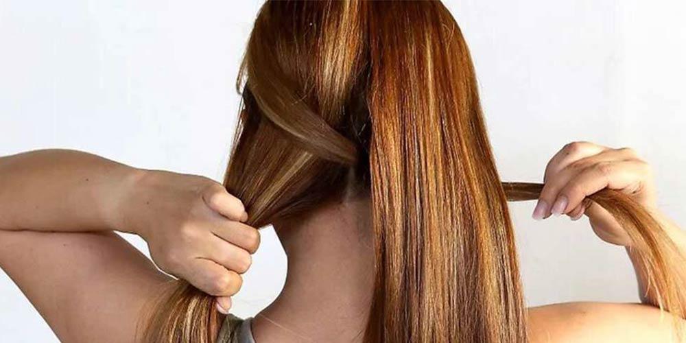 بافت مو دخترانه تیغ ماهی از بالای سر