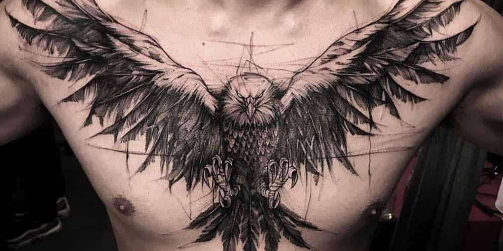 طرح های تاتو عقاب روی سینه