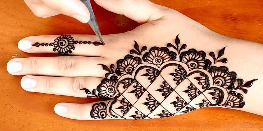 طرح حنا برای دست عروس