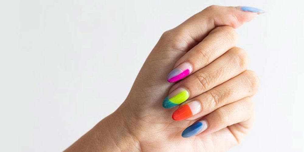 دیزاین ناخن اسپرت رنگی دخترانه