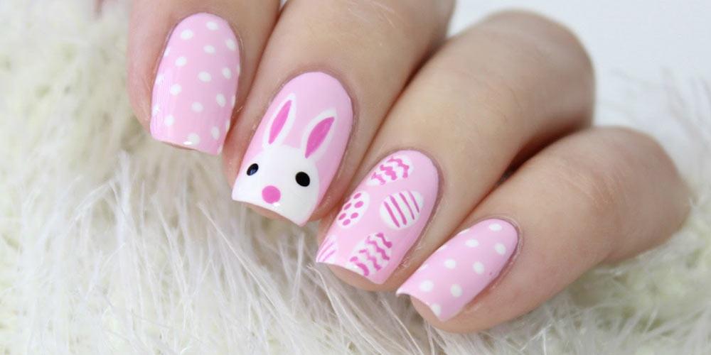 ناخن زیبا با طرح خرگوش و رنگ صورتی