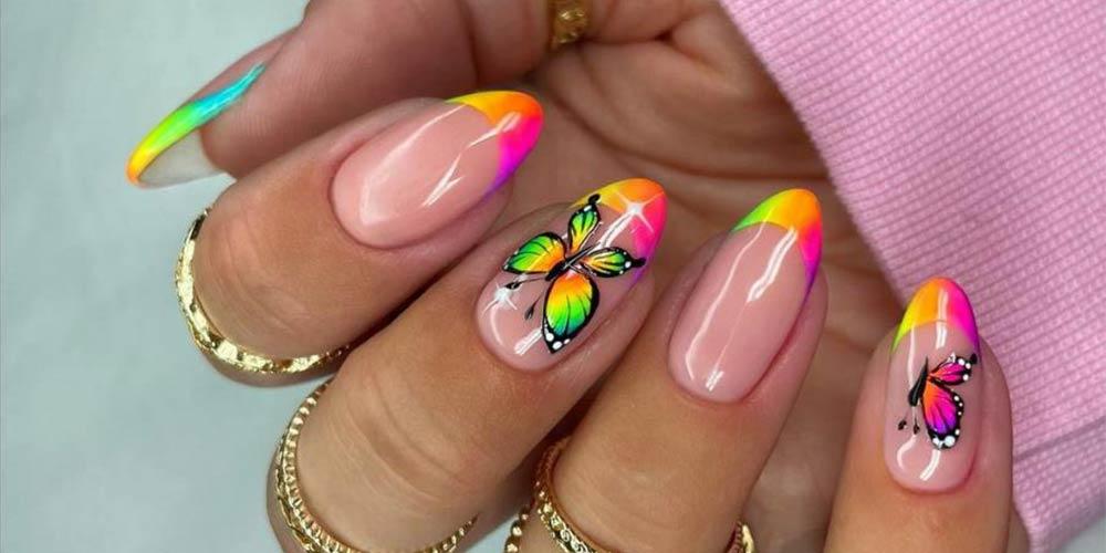 طراحی ناخن تابستانی رنگی پروانه