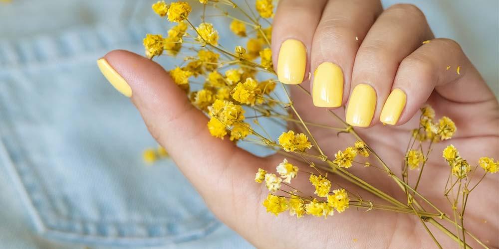 مدل لاک ناخن دخترانه جدید زرد