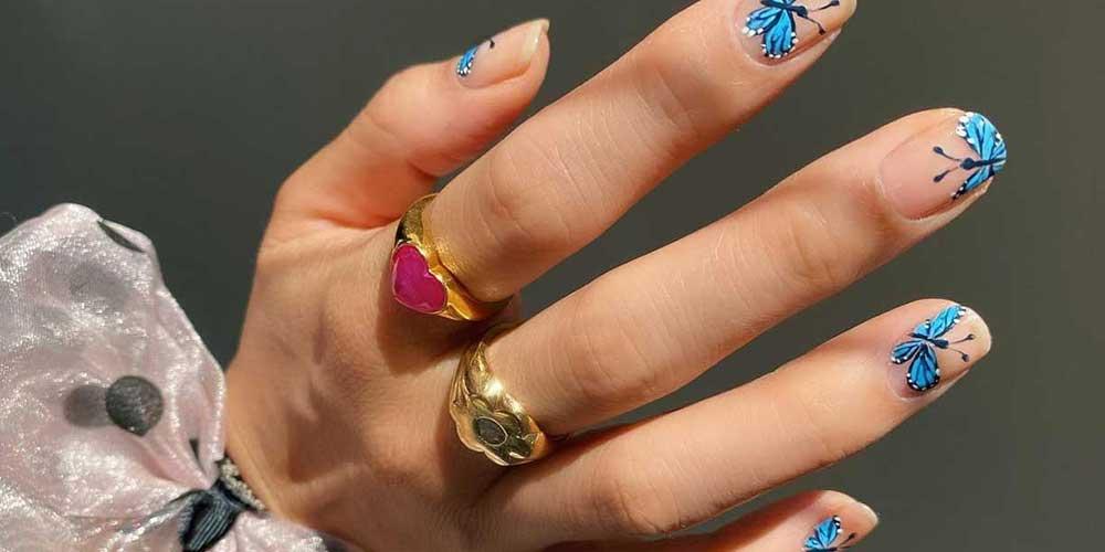 دیزاین ناخن دخترانه با طرح پروانه