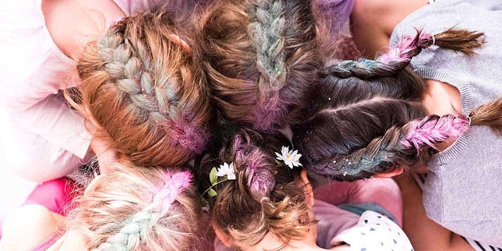 بافت مو با موی اضافه رنگی دخترانه