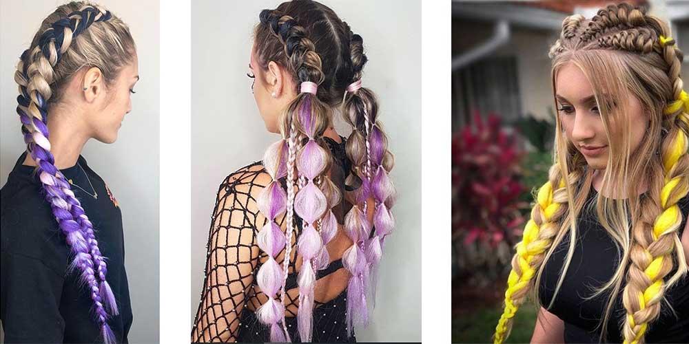 بافت مو با مو اضافه زرد و بنفش
