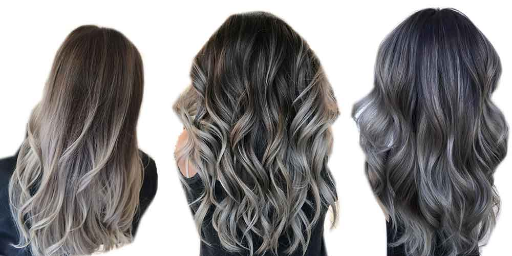 مدل بالیاژ روی موی مشکی خاکستری