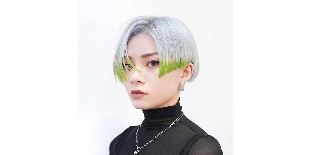 موهای کوتاه سفید و سبز