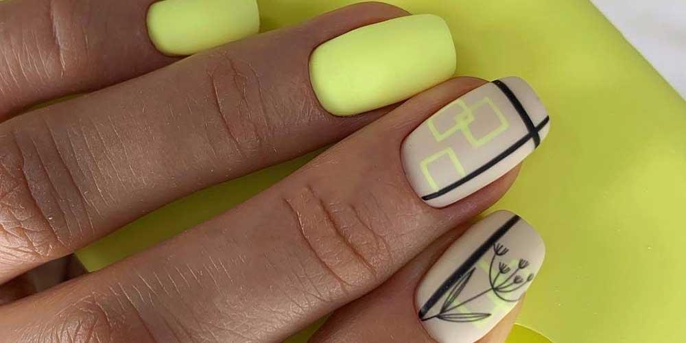 دیزاین ناخن با زرد و مشکی
