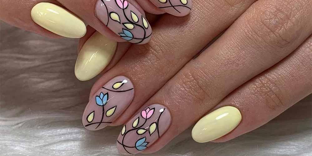دیزاین ناخن با طرح گل
