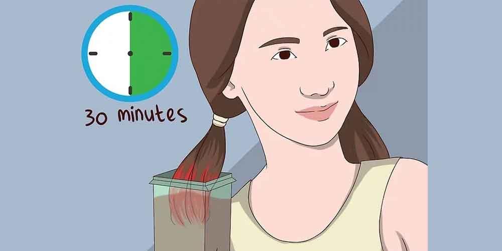 قرار دادن موها در عصاره قهوه به مدت ۳۰دقیقه