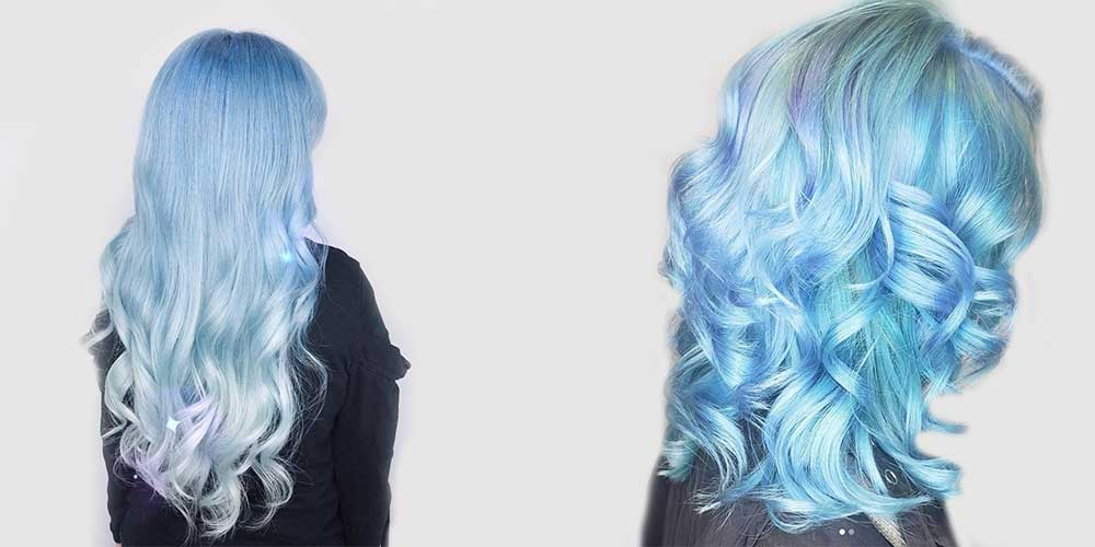 مدل رنگ آبی یخی برای موهای بلند