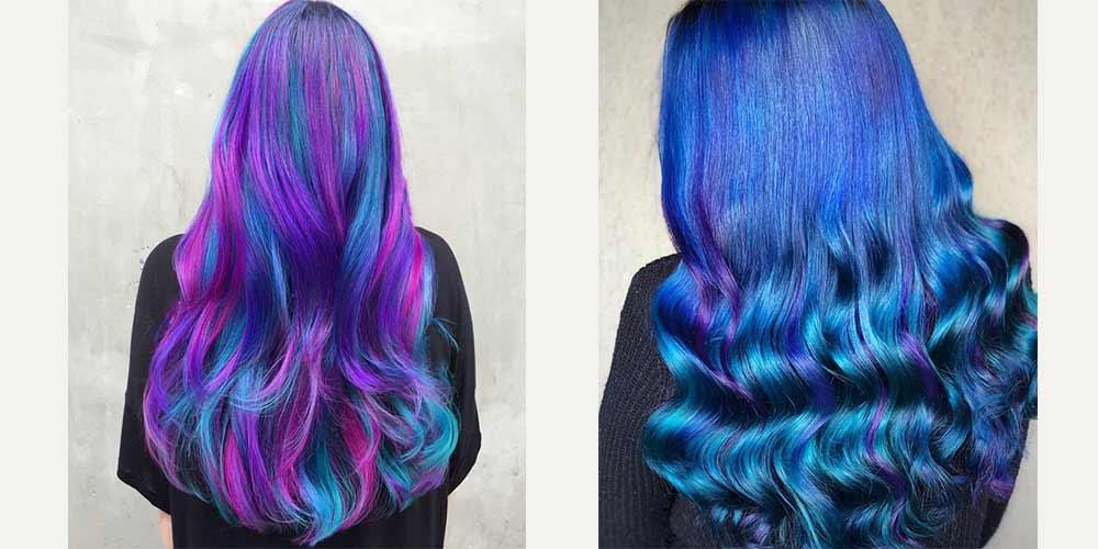 مدل آبی کهکشانی روی موهای بلند