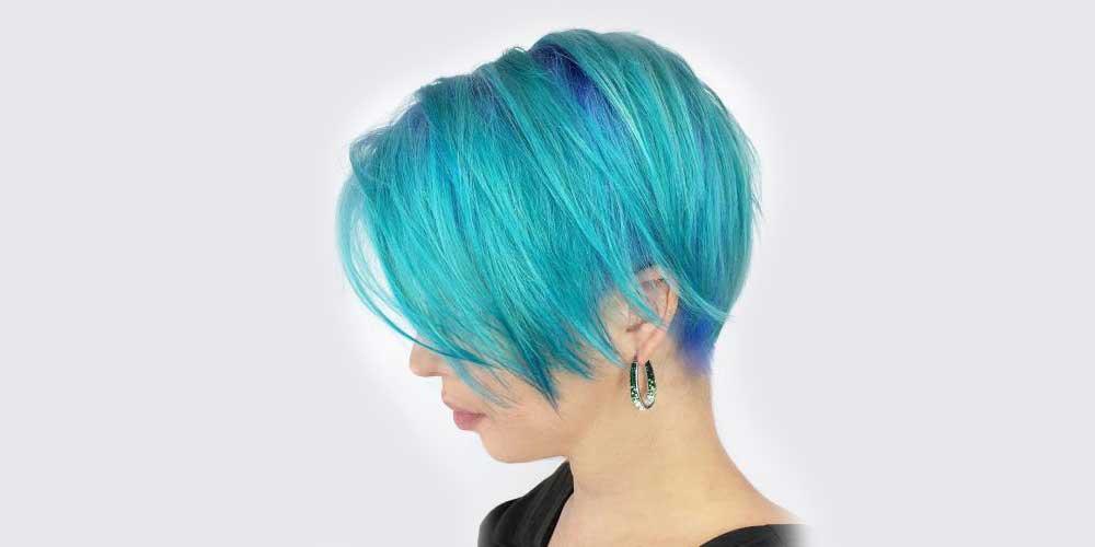 آبی فیروزهای با موهای کوتاه و لخت