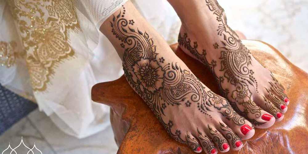 طرح حنا جدید روی پای عروس