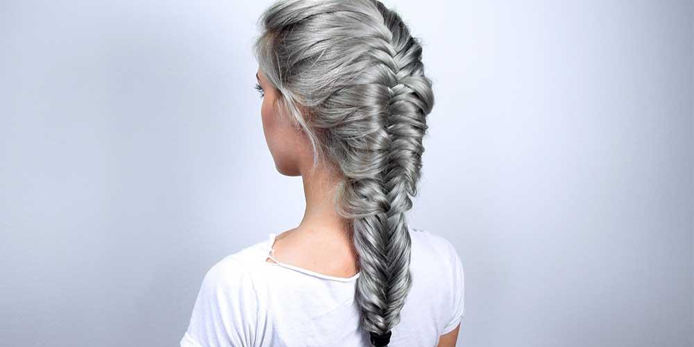 ایده بافت موهای نقرهای مدل تیغ ماهی
