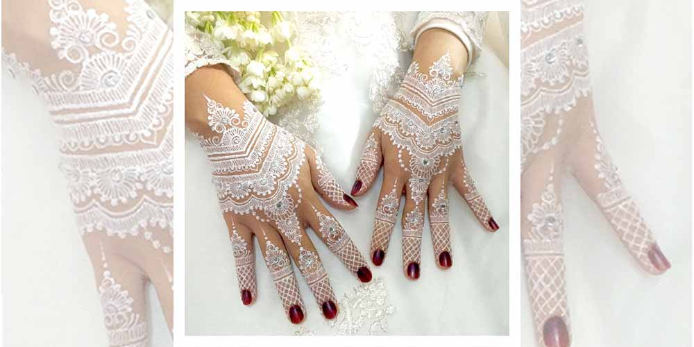 طراحی حنای سفید عروس