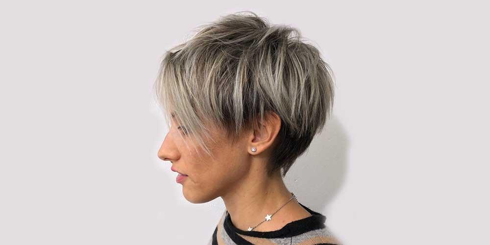 هایلایت موی کوتاه خاکستری