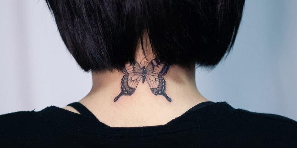 تاتو روي گردن طرح پروانه