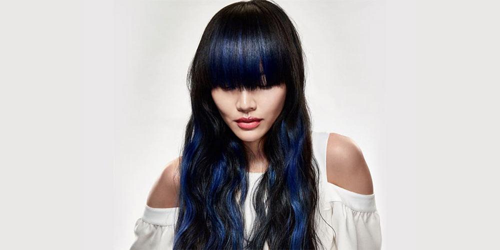هایلایت آبی روی موی مشکی