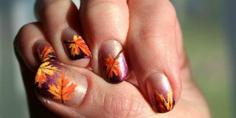 طرح ناخن پاییزی شاین