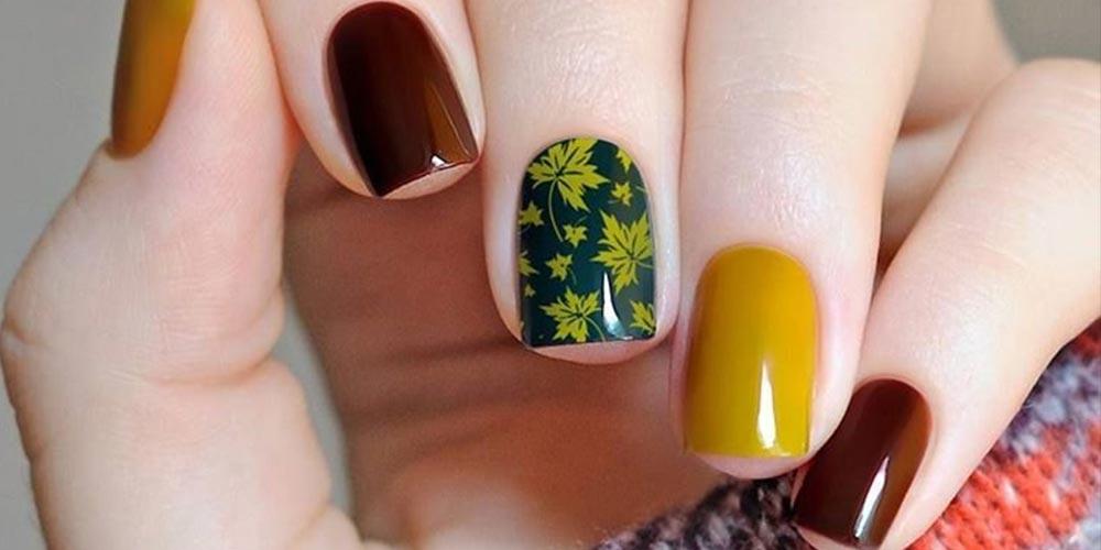 طرح ناخن پاییزی مینیمال