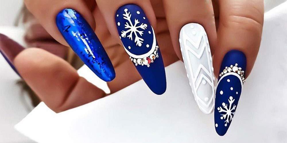 طراحی ناخن زمستانی بلند